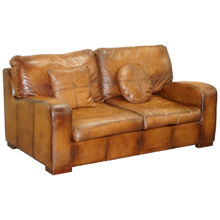 Hand Dyed Cigar Brown Leather Sofa