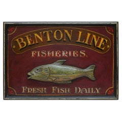 Vintage Style Hand Painted Advertising Sign Benton Line Fishers Fresh Fish Daily