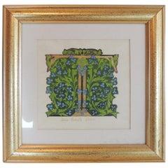 "Vintage Style Hand Painted Alphabet Letter ""T"" Framed Art"