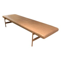 Vintage Style Long Bench in Leather and Metal