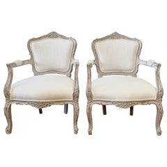 Vintage Style Louis XV Painted and Upholstered Open Arm Chairs