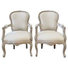 Vintage Style Louis XV Painted Arm Chairs in White Linen