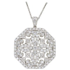 Vintage Style Medallion Diamond Necklace