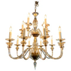 Vintage Murano Glass 15-Light Chandelier by Venini