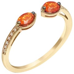Vintage Style Orange Sapphire Diamond Yellow Gold Every Day Fine Stacking Ring