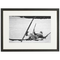 Vintage Style Photography, Framed Alpine Ski Photograph, Opps