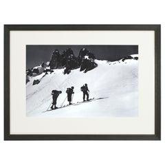 Vintage Style Photography, Framed Alpine Ski Photograph, Three Peaks