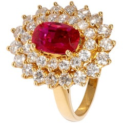 Vintage Style Pinkish-Red No Heat Burma Ruby and White Diamond Cluster Ring
