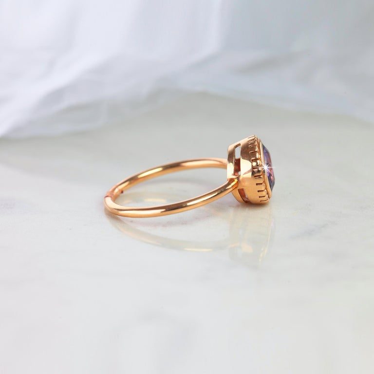 Vintage Style Purple Spinal Dainty Ring, Vintage Dainty Round Spinal Ring Rosegold , Engagement Ring, Solitaire Ring, Statement Ring created by hands from ring to the stone shapes.   I used brillant round shape to reveal spinal stone for lovers of