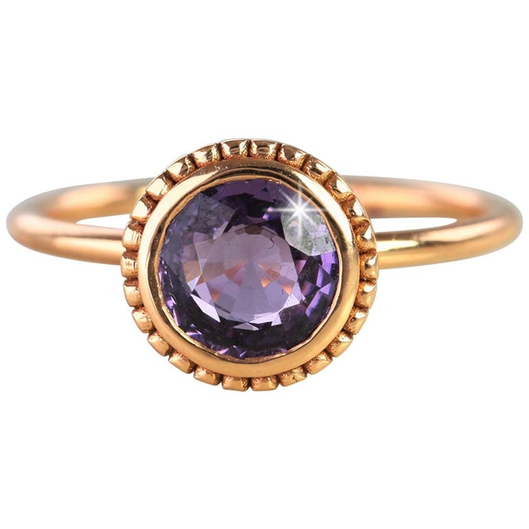 Vintage Style Purple Spinal Dainty Ring For Sale
