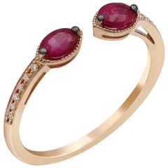 Vintage Style Red Ruby White Diamond Yellow Gold Every Day Fine Stacking Ring
