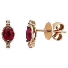 Vintage Style Red Ruby White Diamond Yellow Gold Every Day Stud Earrings