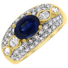 Vintage Style Sapphire and Diamond Band in Yellow Gold