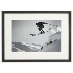 Vintage Style Ski Photography, Framed Alpine Ski Photograph, Courageous Jump