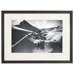 Vintage Style Ski Photography, Framed Alpine Ski Photograph, Virgin Powder