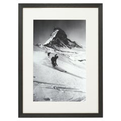 Vintage Style Ski Photography, Framed Alpine Ski Photograph, Matterhorn & Skiers
