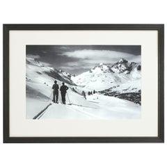 Vintage Style Ski Photography, Framed Alpine Ski Photograph, Panoramic View