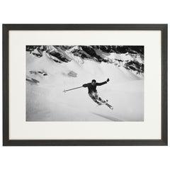 Vintage Style Ski Photography, Framed Alpine Ski Photograph, Quersprung