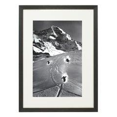 Vintage Style Ski Photography, Framed Alpine Ski Photograph, Scheidegg