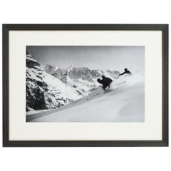 Vintage Style Ski Photography, Framed Alpine Ski Photograph, 'SCHUSS' Murren
