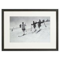 Vintage Style Ski Photography, Framed Alpine Ski Photograph, St. Moritz