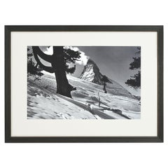 Vintage Style Ski Photography, Framed Alpine Ski Photograph, Zermatt, Riffelalp
