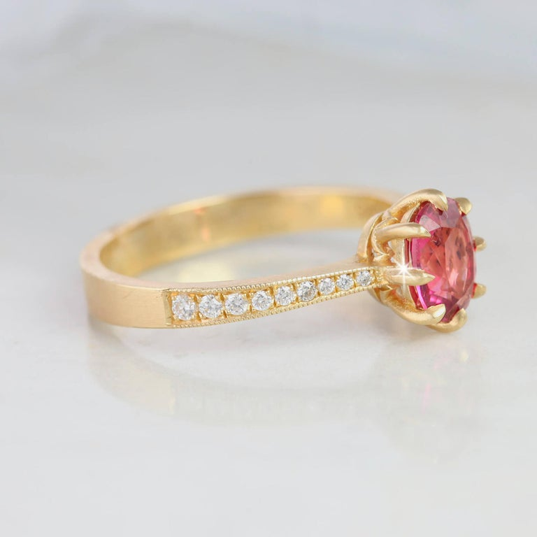 Oval Cut Vintage Style Tourmaline and Diamond Ring with 14 Karat Mate Yellow Gold For Sale