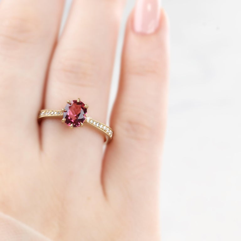 Vintage Style Tourmaline And Diamond Ring With 14K Mate Yellow Gold created by hands from ring to the stone shapes. Good ideas of statement ring or stackable ring gift for her. It is a desing jewelry.  I used brillant diamonds pave setting to reveal