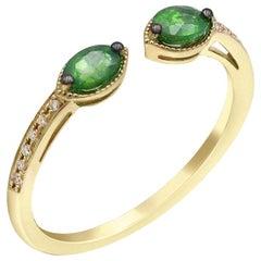 Vintage Style Tsavorite White Diamond Yellow Gold Every Day Fine Stacking Ring