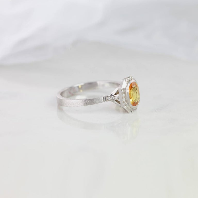 Byzantine Vintage Style Yellow Sapphire with Diamond Engagement Ring For Sale