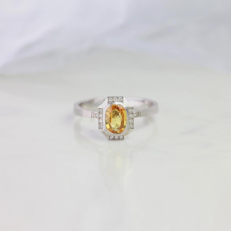 Oval Cut Vintage Style Yellow Sapphire with Diamond Engagement Ring For Sale