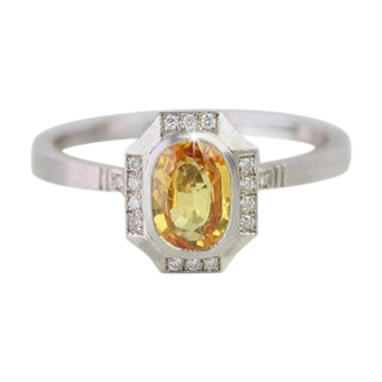 Vintage Style Yellow Sapphire with Diamond Engagement Ring For Sale