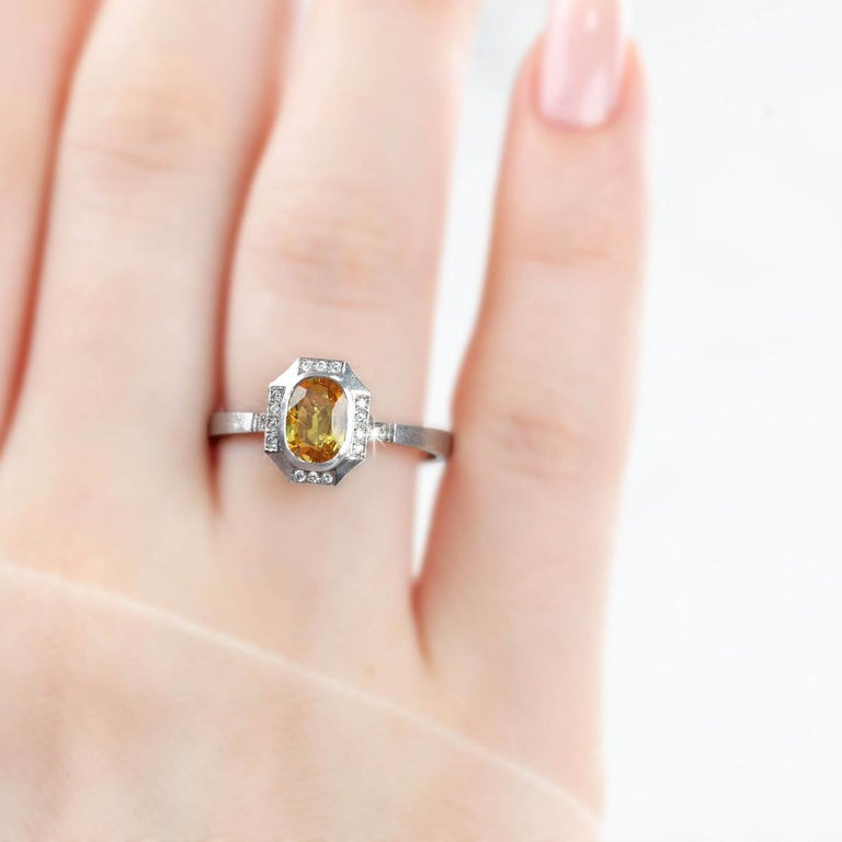 Vintage Yellow Sapphire With Diamond Engagement Ring, 14K Solitaire Ring, created by hands from ring to the stone shapes. Good ideas of statement ring or engagement ring gift for her.  I used brillant yellow diamond in vintage style for lovers of