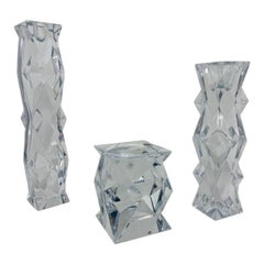 Vintage Stylized Lead Crystal Candle Holder Set of 3 by Libera Czech