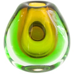 Vintage Submerged Glass Vase by Vladimir Mika for Moser Glasswork, 1967