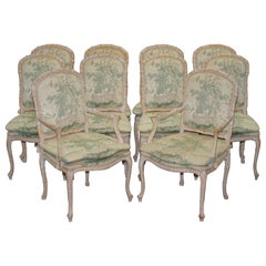 Vintage Suite of Ten Famboo Framed Dining Chairs with Swan & Birds Upholstery 10