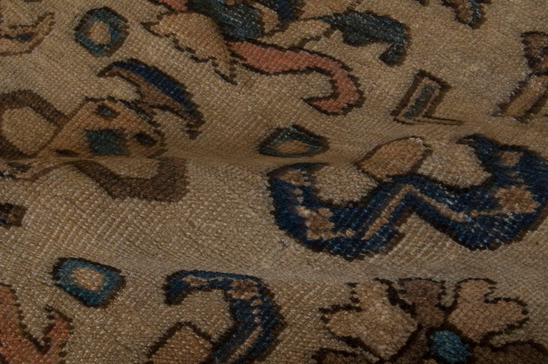 Persian Vintage Sultanabad Beige and Blue Wool Rug For Sale