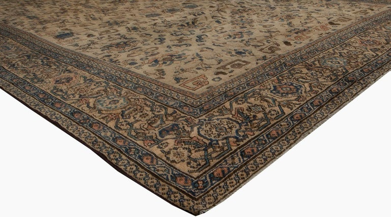 19th Century Vintage Sultanabad Beige and Blue Wool Rug For Sale
