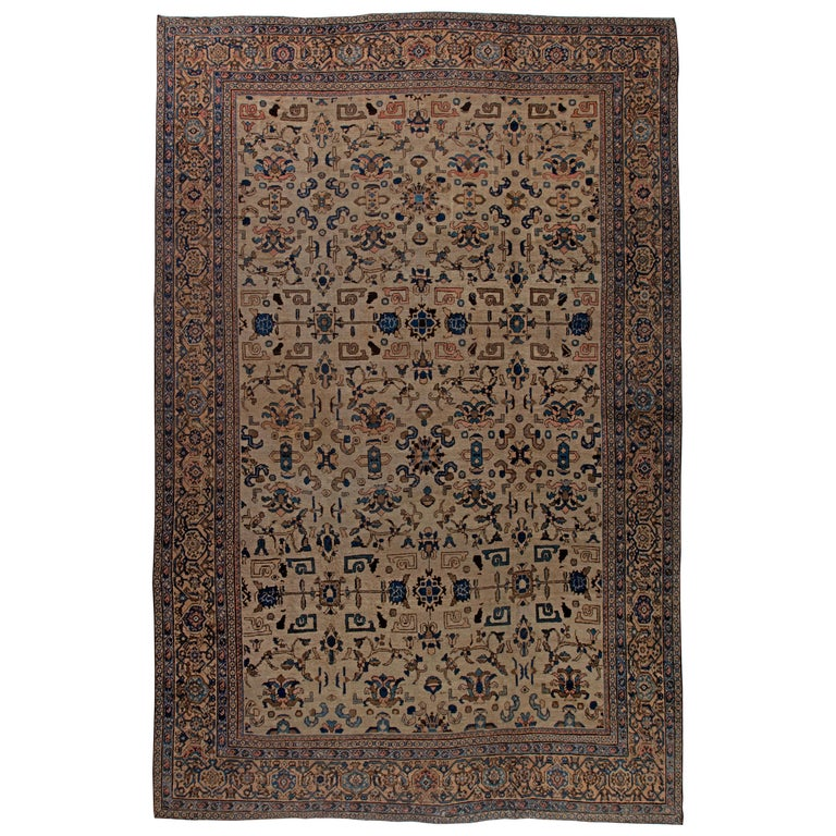 Vintage Sultanabad Beige and Blue Wool Rug For Sale