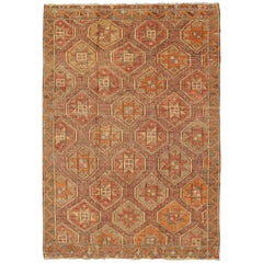 Vintage Sumack Kilim Rug with Starburst Pendants and Zig-Zag Border