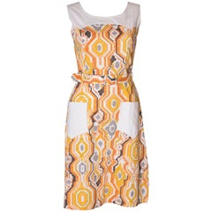 Vintage Summer Dress with White Pockets