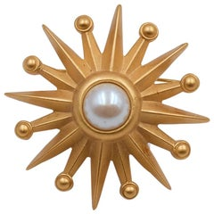 Vintage Sun Brooch With Faux Pearl 1990's