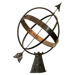 Vintage Sun Clock or Armillary from Denmark with Zodiac Stand