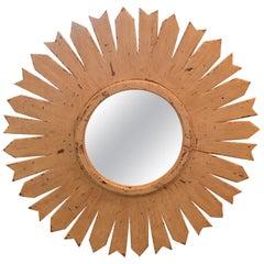 Vintage Sunburst Mirror in Wooden Frame
