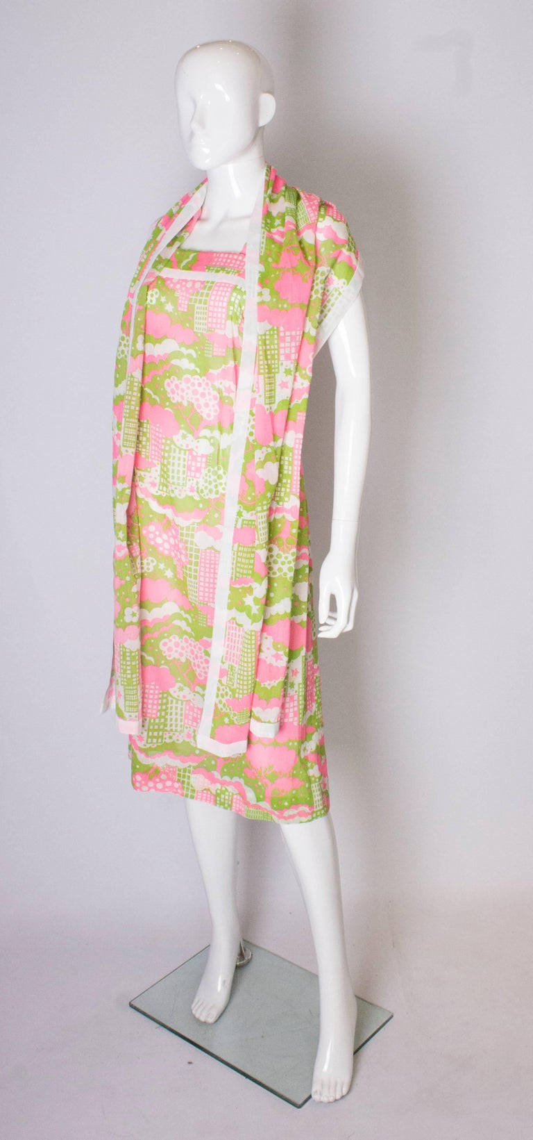 Beige A Vintage 1960s abstract printed Sundress and Matching Scarf For Sale