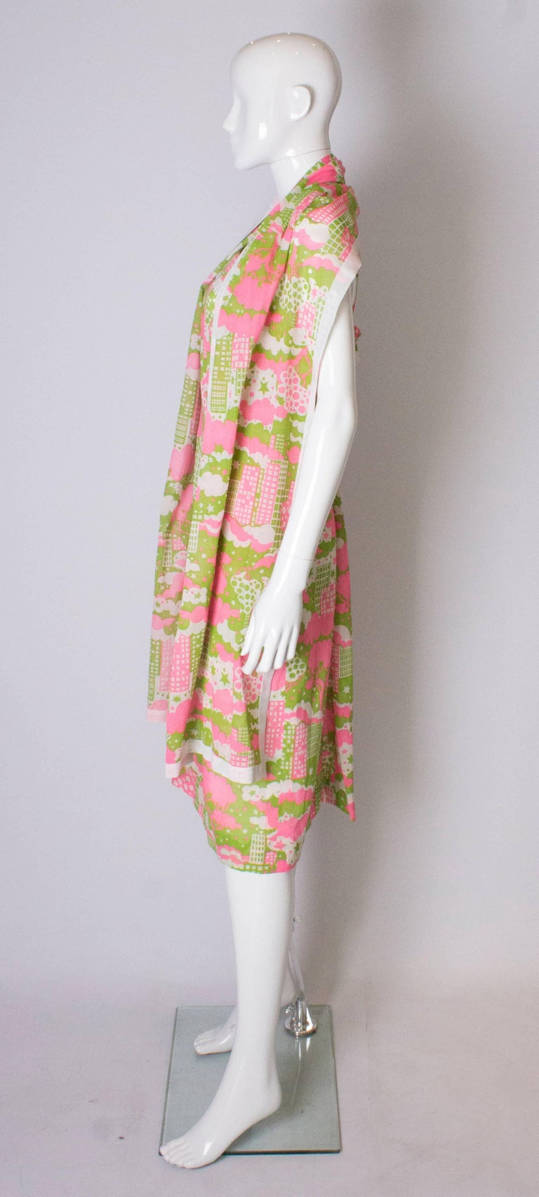 Women's A Vintage 1960s abstract printed Sundress and Matching Scarf For Sale