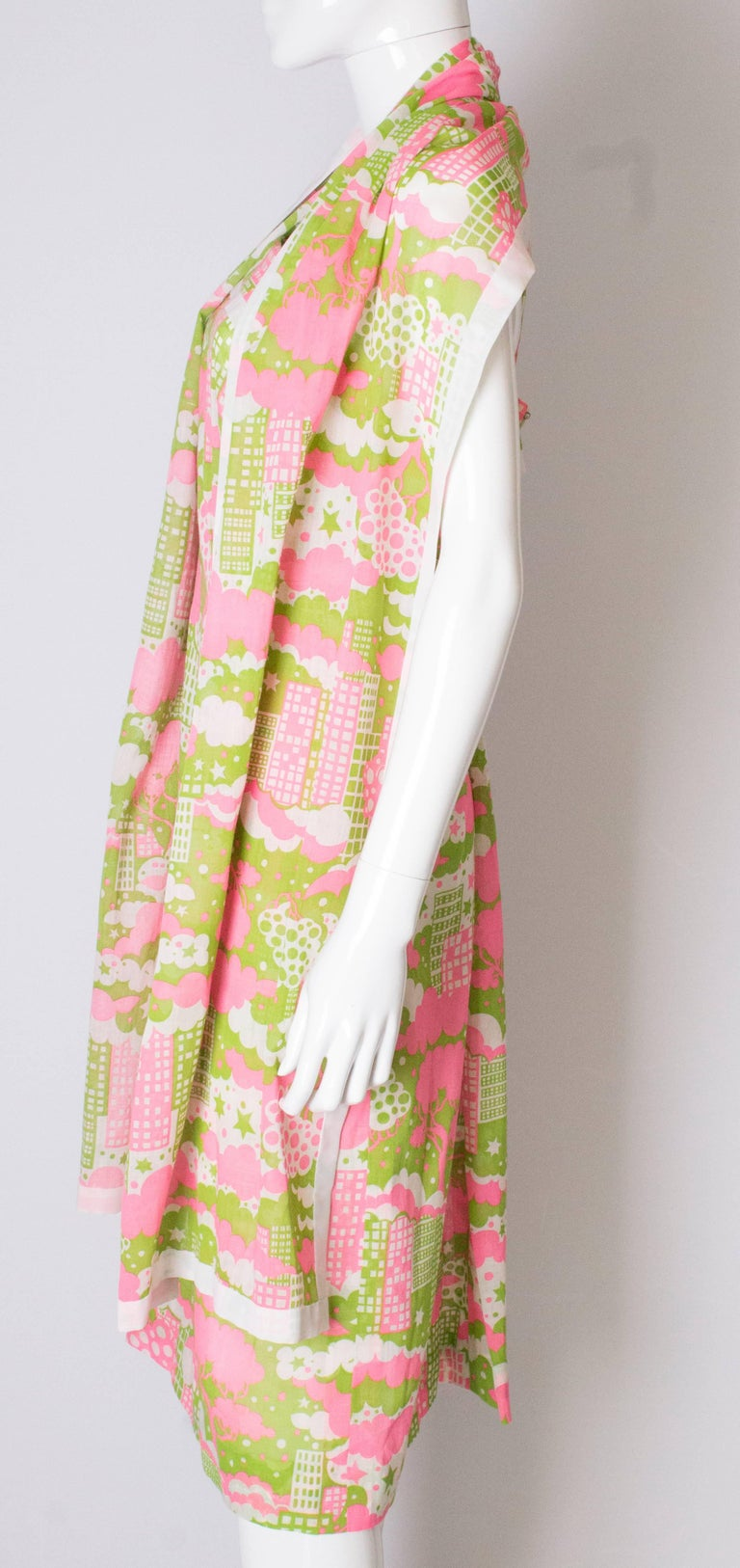 A Vintage 1960s abstract printed Sundress and Matching Scarf For Sale 1