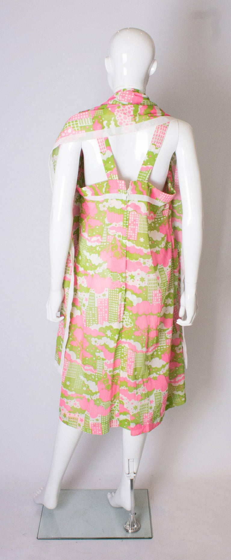 A Vintage 1960s abstract printed Sundress and Matching Scarf For Sale 2