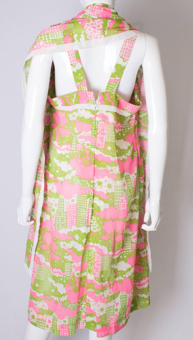 A Vintage 1960s abstract printed Sundress and Matching Scarf For Sale 3