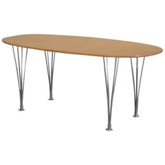 Vintage Super Ellipse Table by Bruno Mathsson in Masur Birch